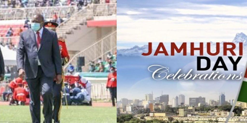His Excellency Uhuru Muigai Kenyatta during Jamhuri holiday 2020 celebrations at Nyayo Stadium