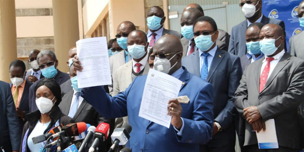 Education CS George Magoha giving a directive on the reopening of schools in Kenya