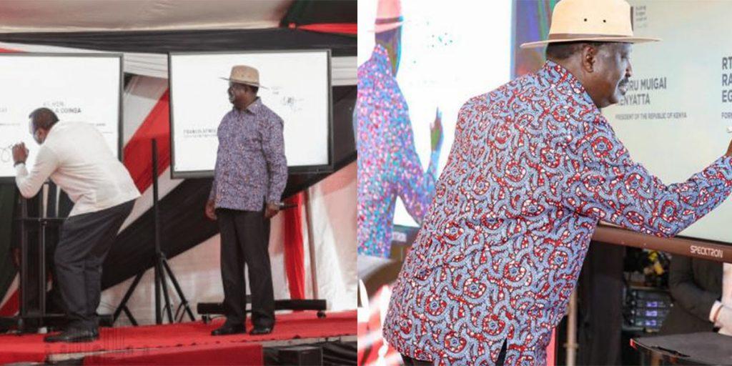 President Uhuru Muigai Kenyatta and Raila Odinga appending their signatures on the constitution of Kenya Bill at KICC on Nov, 25, 2020