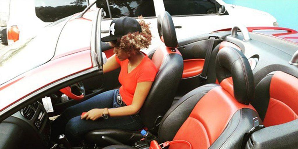 Pierra's red convertible Mercedes Benz SRC: @Naibuzz