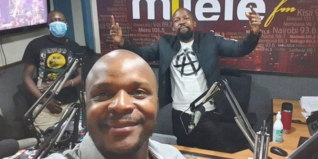 Jalas with his friend Alex Mwakideu while working at Milele FM SRC: @Switch TV