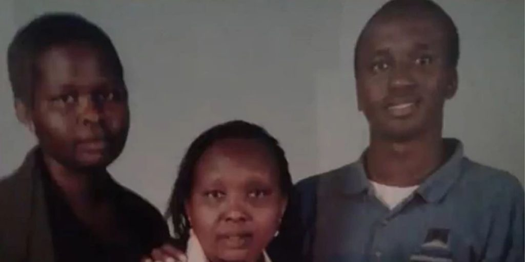 Jemutai's elder brother (right), her mother (middle), and herself (left) SRC: @The Standard