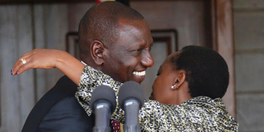 Ruto embracing his wife Rachel with a hug SRC: @Classic 105