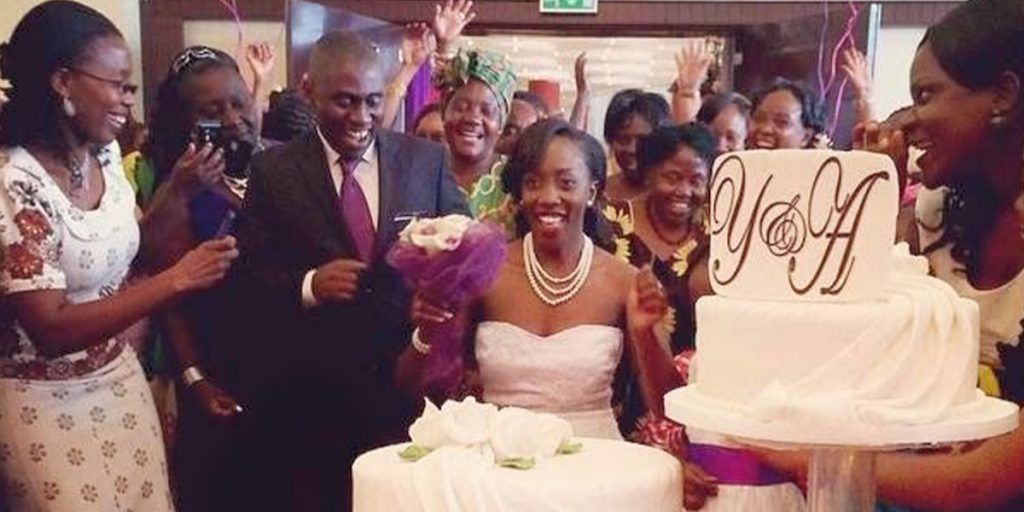 The news anchor with her husband and other invited guests during the wedding SRC: @KahawaTungu
