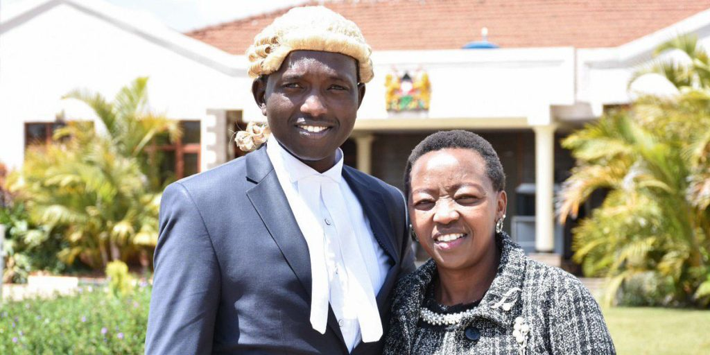 Dr. William Ruto's first born son, Nick Ruto with her mother during his graduation SRC: @Twitter