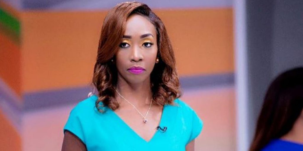 Yvonne while airing news in one of the TV stations SRC: @whownskenya
