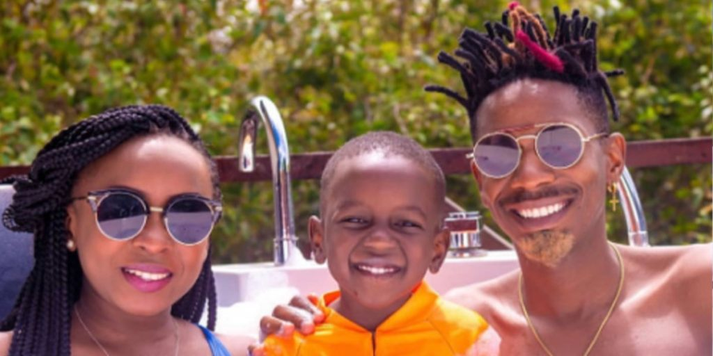 Comedian Eric Omondi with his baby mama and their son SRC: @Ghafla