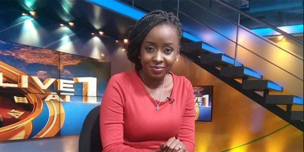 The celebrated news anchor while airing news in one of the TV stations SRC: @Kenya Today