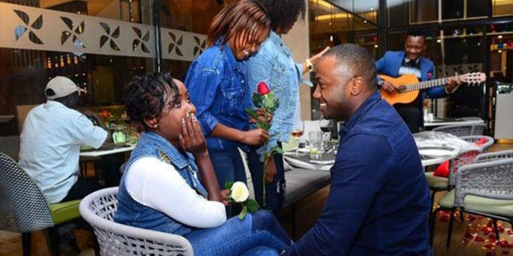 Jowi proposing to her then girlfriend, Jackie Maribe SRC: @Nairobi News - Nation