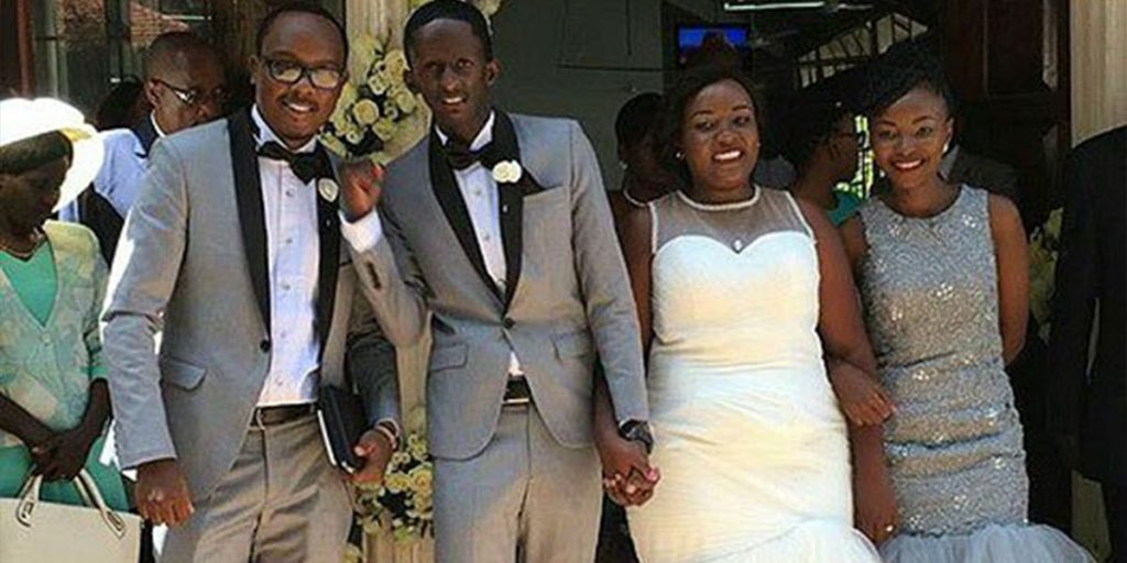 Njugush with the love of his life and their friends during the wedding SRC: @Nairobi News - Nation