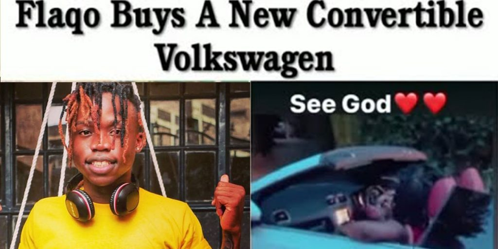 Flaqo in his Volkswagen convertible car SRC: @The East African Feed, @YouTube
