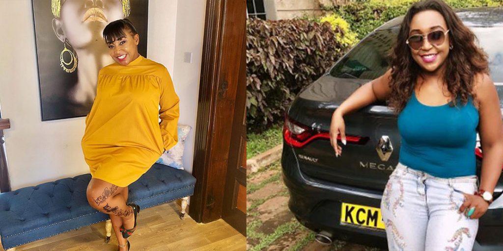 The female journalist with her Black Megane car SRC: @the brief, @Kenya