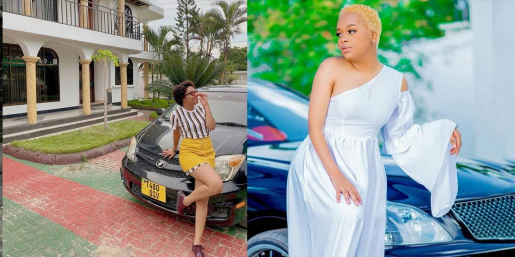 The singer standing outside two of her cars SRC: @Facebook, @Tuko 3
